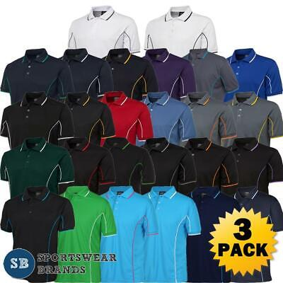 3 Pack Mens Piping Polo Shirt Team Sports Contrast Top Quick Dry Size S-5XL 7PIP