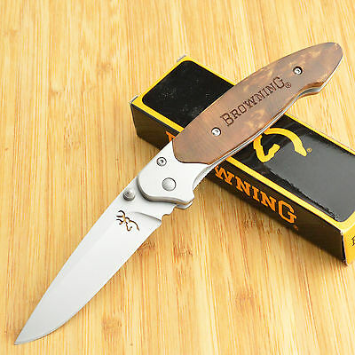 Browning Bead Blast Finish Blond Wood Onlay Linerlock Knife 322141