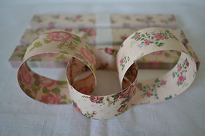 Vintage Pink Rose Floral Paper Chain Wedding Party Garland Decoration