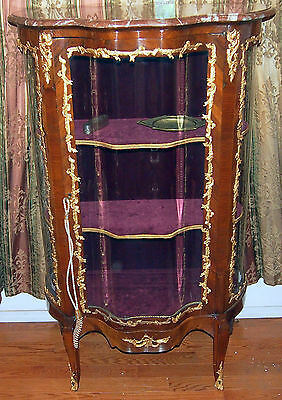 "Vitrin 19C French Bronze Work And Glass Doors  With Marbel Top :57"" High"