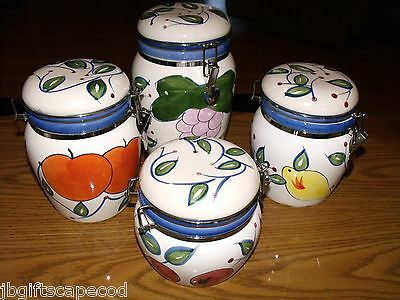 4 PIECE CANISTER SET - CERAMIC - ABSOLUTELY LOVELY - FRUIT DESIGN - LOOK!!