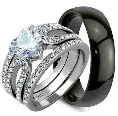 4 Pcs His Hers Mens & Womens HEART Cut STAINLESS STEEL CZ Wedding Band Ring Set