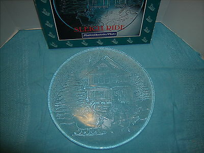 """Vintage Libbey Sleigh Ride Holiday Clear Glass Platter 12 1/2"""" diameter#5527"""