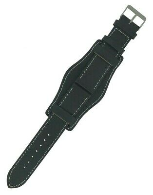 Black Genuine Leather Military Cuff Watch Strap 18mm and 20mm