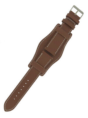 Tan Brown Genuine Leather Military Cuff Watch Strap 18mm and 20mm