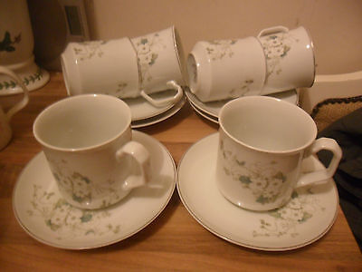 Fiesta / Princess House White Blossom Cups And Saucers X 6