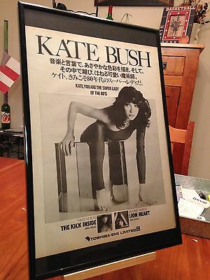 "Big 11X17 Framed Kate Bush ""the Kick Inside"" & ""lionheart"" Lp Album Cd Promo Ad"