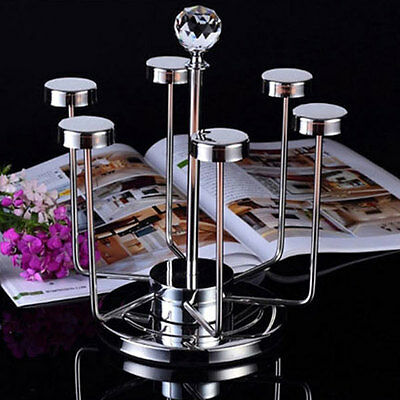 NEW Stainless 6 Mug Cups Rack Cup Stand Tea Coffee Cup Holder Kitchen Rack 7747U