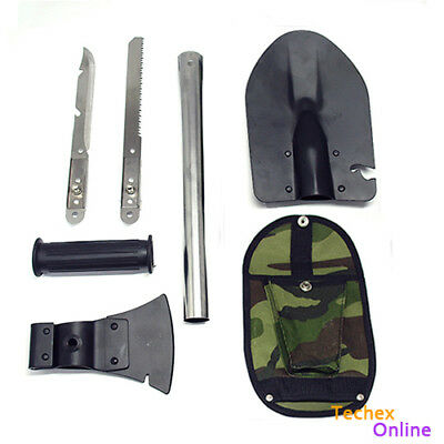 Survival Knife Shovel Axe Saw Gut Camping Hiking Emergency Gear Kit Tools