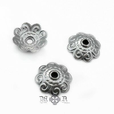 50 x Embossed Stainless Steel 11mm Bead Caps - Dark Silver Tone - Scalloped Edge