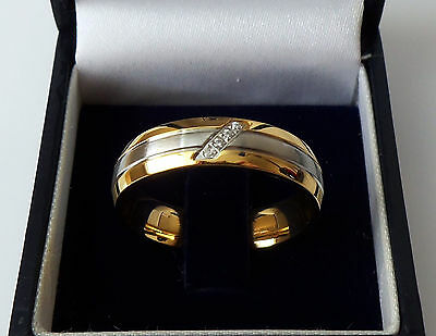 Men's Gold Plated Stainless Steel Crystal Set Wedding Band Ring, size W.