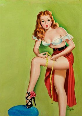 Peter Driben Red Haired Pinup Measuring Vintage Art Print - A4 A3 A2 A1