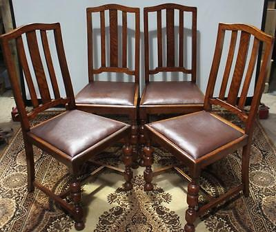 Vintage Set of 4 Solid Oak Leather Dining Chairs FREE DELIVERY [PL592]
