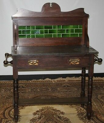 Victorian Mahogany Washstand with Marble Top & Tiled Back splash FREE DELIVERY