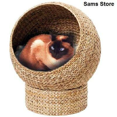 Woven Cat Den Kitten Snug Bed Washable Cushion Sturdy Napping Rest Cosy Secure