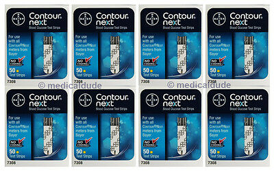 Bayer Contour Next Blood Glucose 400 Test Strips 8 Boxes of 50