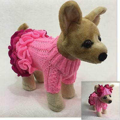 Handmade Knit Three Ruffled Sweater Dress and Hat for Little Dogs Size XXS, XS