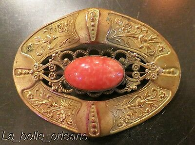 ANTIQUE VICTORIAN BRASS LARGE BROOCH PINK STONE INSET. L@@k!!