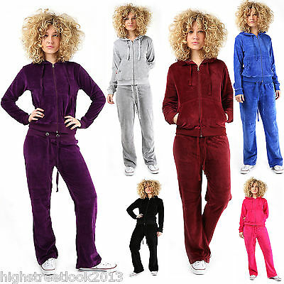 New Womens VELOUR TRACKSUIT Jogging Suit Cosy Pockets Lounge Sexy Hooded Ladies