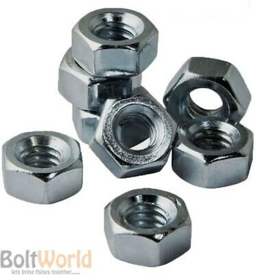 Metric Hexagonal Steel Full Nuts Standard Pitch Bright Zinc Plated Din 934