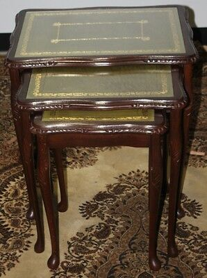 Vintage Carved Mahogany Regency Style 3 x Nest Tables with Gold tooled Leather