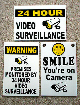 (3)  24 HOUR VIDEO SURVEILLANCE SECURITY SMILE YOU'RE ON CAMERA SIGNS 8x12   NEW
