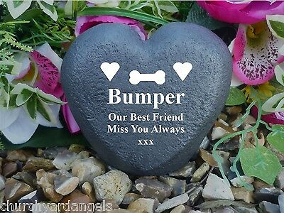 Pet Memorial Heart - Stone Effect - Personalised & Weatherproof - Bone Design