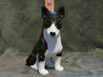 Dark Brindle Bull Terrie Plaster Dog Statue Hand Cast And Painted By T.c. Schoch