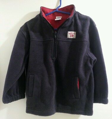 New Gymboree Boys Firehouse No 5 Navy and Red Fleece Pullover Jacket Coat Sz 3