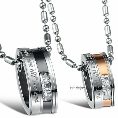 "Stainless Steel ""Love You Till the End"" Ring Pendant Necklaces His and Hers Gift"