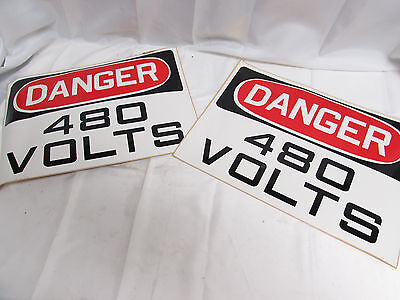 "Danger 480 Volts Safety Sign 10"" X 14"" Slightly Damaged Corners (Lot Of 2) *nnb*"