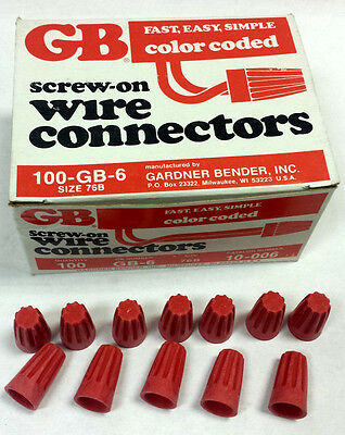 Gardner Bender 100-GB-6 Size 76B Screw on Wire Connectors Red 100 pieces