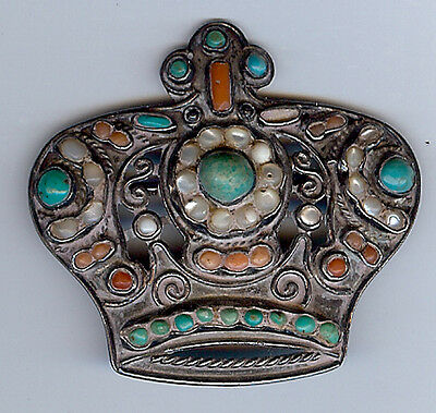 Matl Mexico Vintage Sterling Silver Coral Shell Turquoise Crown Pin As Found