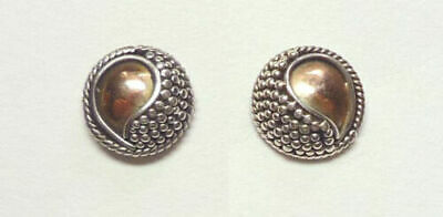 .925 Silver Yin & Yang Stud Earrings with Gold Highlights