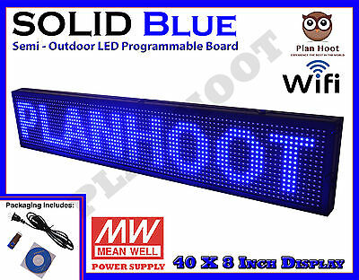 """Blue 40""""x8"""" Led Programmable Scrolling Sign For Semi Outdoor Use Wifi Usb Mobile"""