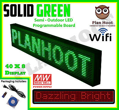 "40""x8"" Led Programmable Scrolling Sign For Semi Outdoor Use Green Display Color"