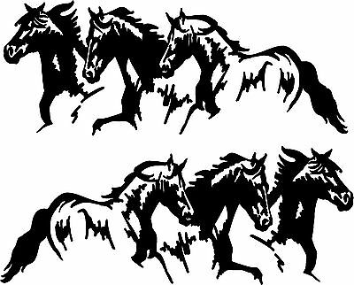 "Running Horses Vinyl Decal Stickers Horse Trailer Truck 10x20"" Set of 2"