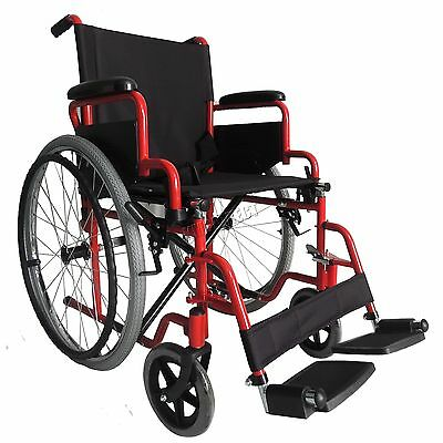 FoxHunter Red Self Propelled Folding Lightweight Transit Wheelchair Footrest
