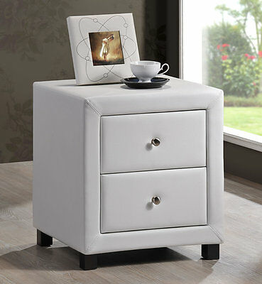 New Stylish Chelsea White Faux Leather 2 Drawer Bedside Cabinet Table