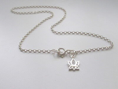 Ankle Bracelet Anklet 925 Sterling Silver Chain with 925 Silver Lotus Charm
