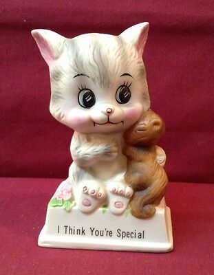 Russ Berrie #819 I Think Your Special Figurine Kitten & Squirrel