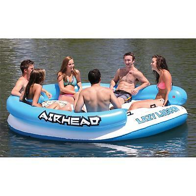 Airhead Lazy Lagoon Inflatable Island Water Tube Raft 6 Person Boat Pool AHLL-1