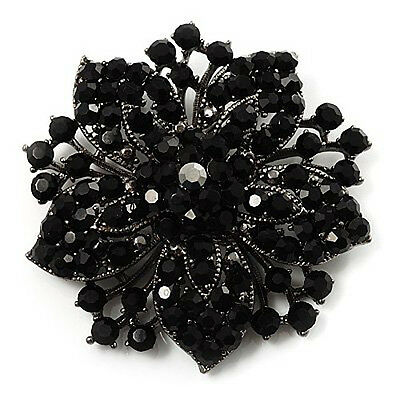 Vintage Inspired Antique Silver Statement Black  Rhinestone Round Brooch