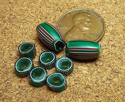 Green with Red & White Stripes, Fancy Venetian Glass Old African Trade Beads