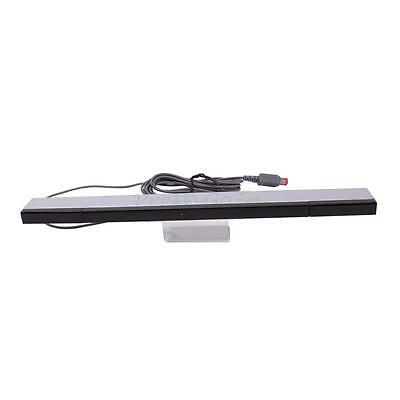 Wired Infrared Ray Sensor Bar for Nintendo Wii Console Black with Silver #1249