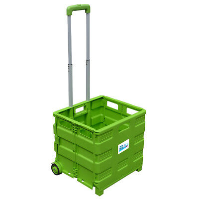 New Large Green Folding Basket Boot Shopping Cart Trolley Crate Heavy Duty 35Kg