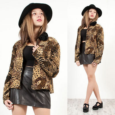 Womens Vintage 80's Leopard Pattern Beaded Faux Fur Collared Blazer Jacket 16