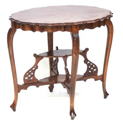 Arts and Crafts Pie Crust Mahogany Oval Table with Fret Support [PL602]