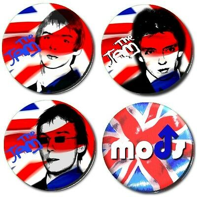 "SET OF 4 x THE JAM/ MOD/ NEW WAVE/ 1""/ 25 mm BUTTON BADGEs"