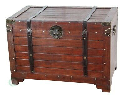 New Vintiquewise Old Fashioned Wood Storage Trunk, QI003003L